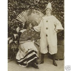 Girl Clown w Friend Carnival Costumes Cab Photo 1890s | eBay