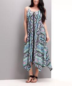 Look at this #zulilyfind! Aqua Wallpaper Handkerchief Maxi Dress - Plus by Reborn Collection #zulilyfinds