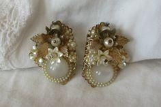 Vintage Seed Pearl & Moonglow Clip Earrings by NorthShoreAntiques, $50.00