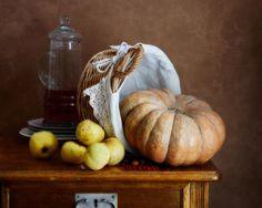 #Still #Life #Photography Pumpkin And Apples Art Print by Nikolay Panov
