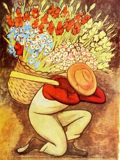 El Vendedor de Flores by Diego Rivera Diego Rivera Frida Kahlo, Diego Rivera Art, Frida And Diego, Kinder Art, Spanish Puns, Ap Spanish, Mexican Artists, Mexican Folk Art, Latino Artists