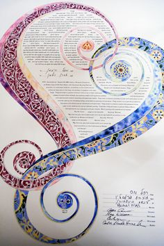 Beautiful ketubah, or a traditional Jewish marriage certificate/prenuptial agreement