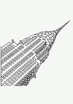 Free coloring page «coloring-adult-new-york-chrysler». Coloring page of the top of the Chrysler Building, with multiple windows coloring