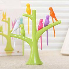 New Tableware Dinnerware 7Pcs/Sets Creative Tree+Birds Design Plastic Fruit Forks 1 Stand+6 Forks Hot Sale Vegetable Fork