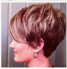 Shattered, choppy, piecy, textured pixie with a long draped bang! Adorable!