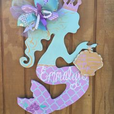 Mermaid Baby Door Hanger by craftigirlcreations on Etsy