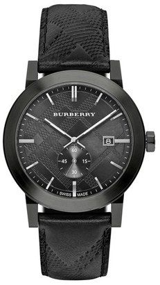 Burberry Check Stamped Leather Strap Watch 42mm #watches #womens