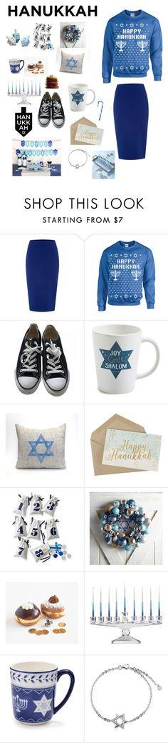 """Happy Hanukkah!!!"" by peculiarleah ❤ liked on Polyvore featuring Glamorous, Converse, Lantern Press, Mark & Graham, Pier 1 Imports, Mikasa, Sur La Table, Jonathan Adler, Bling Jewelry and Hanukkah"