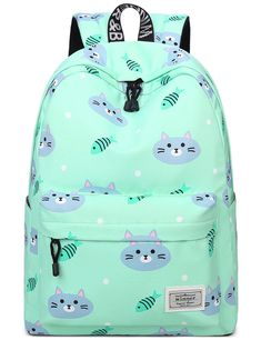 cute cat accessories for girls - Bookbags for Teens, Cute Cat and Fish Laptop Backpack School Bags Travel Daypack Handbag by Mygreen Green -- Check this awesome product by going to the link at the image. (This is an affiliate link) Cat Backpack, Backpack For Teens, Canvas Backpack, Jansport Backpack, Travel Backpack, Best Backpacks For School, Gato Grande, College Bags, Cat Accessories
