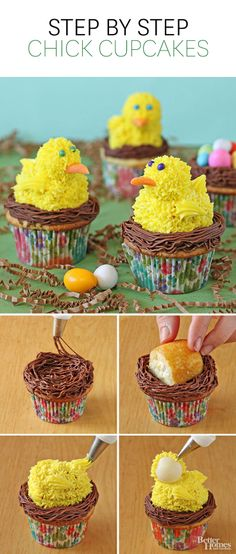 These sweet Chick Cupcakes are perfect for any spring gathering! Get the easy step-by-step directions here: http://www.bhg.com/recipes/desserts/cupcakes/chick-cupcakes/?socsrc=bhgpin050414chickcupcakes