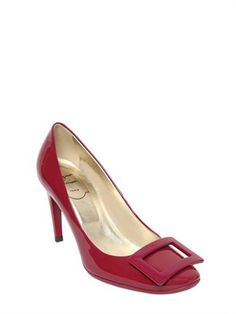 ROGER VIVIER 85Mm Belle De Nuit Patent Leather Pumps, Dark Cyclamine Roger Vivier Shoes, Luxury Fashion, Mens Fashion, Luxury Shop, Patent Leather Pumps, Shades Of Red, Kitten Heels, Peep Toe, Footwear