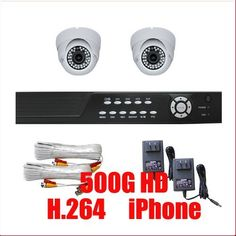 """Complete 4 Channel CCTV DVR (500G HD) Surveillance Network System Package with (2) x 560TVL  1/3"""" SONY CCD  Vari-Focal 2.8~10mm Lens Indoor Dome Security Cameras by Gw. $465.00. Package Includes:      GW2544SV-N DVR with 500G HDD;     Remote Control and mouse;     2 x GW105H -1/3"""" SONY CCD Camera;     2 x GW60CAW: 60 feet pre-made cable BNC;     2 x GW12V0.5A: 12V 0.5A Power Supply for Security Cameras."""