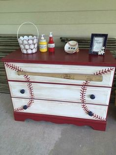 Repainting an old dresser is the ultimate way to transform a kid's room into a fantasy baseball bedroom. These projects range from super easy to more suited for Baseball Bedroom Decor, Baseball Nursery, Softball Bedroom Ideas, Sports Themed Nursery, Baseball Dresser, Baseball Furniture, Furniture Makeover, Diy Furniture, Bedroom Furniture