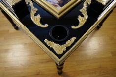 Triple beveled table edge and golden accent trim exemplifies and contrasts the rich black satin stain beautifully. Domino Table, Black Satin, Wood Working, Pop Culture, Auction, Ebay, Ideas, Boards, Woodworking