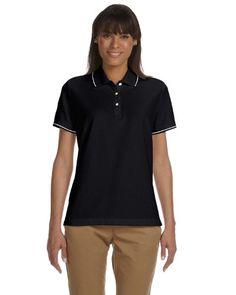 e5bbcb0c8fed3e Devon Jones Ladies Pima Piqu ShortSleeve Tipped Polo XL BLACKWHITE      Click image to