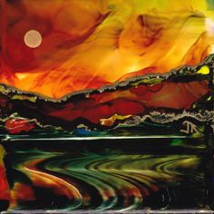 By June Rollins. Alcohol inks on Yupo paper. Method: dreamscaping.
