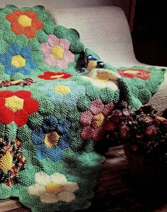 Vintage Grandmother's Flower Garden Crocheted Afghan by PastPerfectPatterns on Etsy