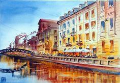 """"""" Cala la sera, Naviglio , Milano """" acquerello di Lorenza Pasquali Paintings 35 x 50 www.lorenzapasquali.it  Copyright © Lorenza Pasquali"""