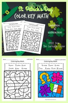 This St. Patrick's Day color key addition and subtraction is like a St. Patrick's Day color by number set for math practice. FREE addition and subtraction fact practice from The Curriculum Corner. Math Addition, Addition And Subtraction, March Colors, Mental Calculation, Math Subtraction, St Patrick Day Activities, Math Practices, Free Math, Math Facts