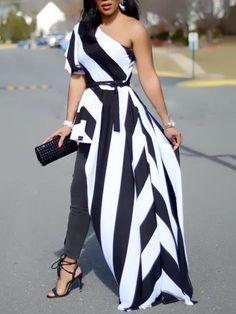 One Shoulder Contrast Striped Asymmetric Blouse right now, get great deals at Joyshoetique.Shop One Shoulder Contrast Striped Asymmetric Blouse right now, get great deals at Joyshoetique. Look Fashion, Womens Fashion, Fashion Tips, Fashion Trends, Feminine Fashion, Fall Fashion, Fashion Ideas, Petite Fashion, Cheap Fashion
