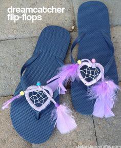 dream catcher flip-flops from dollarstorecrafts.com