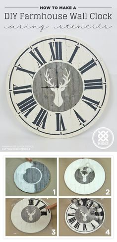 Magnolia Homes Gift Ideas - DIY Farmhouse Wall Clock Using Stencils - DIY Home Decor Inspired by Chip and Joanna Gaines - Fixer Upper Gifts - Do It Yourself Decorating On A Budget With Farmhouse Style Decorations for the Home Source by diyjoycrafts diy Diy Clock, Clock Decor, Clock Ideas, Clock Wall, Diy Home Decor Rustic, Diy Room Decor, Joanna Gaines, Diy Vinyl Projects, Diy Vintage