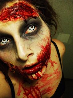 This make up is very realist ... It's scary and this is the but when we disguise in zombie.