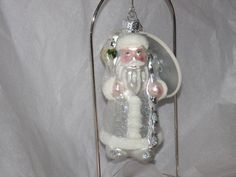 Blown Glass Silver Santa Clause Trimmerry Crystal Ice Christmas Ornament - New