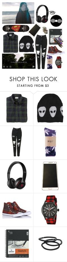 """Everything sucks"" by trippyolo ❤ liked on Polyvore featuring Evil Twin, Topshop, Beats by Dr. Dre, Samsung, Converse, Timex and Goody"