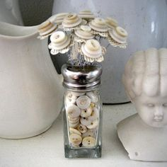 Button Bouquet in Button Filled Salt Shaker