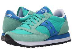 Saucony Originals Jazz Original Sneaker nylon/suede light green/blue, bright red, charcoal/blue sz7.5 50.00 3/16