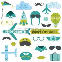 photo anniversaire: Set Party Avion - accessoires de photobooth - lunettes, des chapeaux, des avions, des moustaches, des masques - dans le vecteur