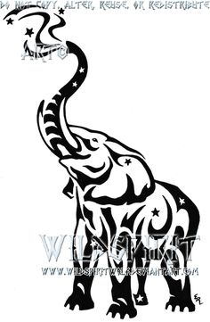 elephant tattoo, i like. <3 i wouldn't want the stars and what not coming from the trunk though.
