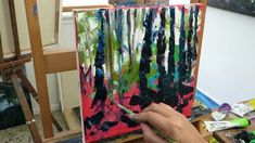 Palette Knife painting -  Silver Birch Forest Part One