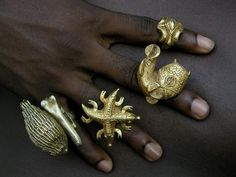 Africa   Collection of rings from the Ashanti peoples of Ghana   Gold, usually below 14k   These rings would have been made and worn by members of the Ashanti royal family and entourage   ca. 1950s/60s.