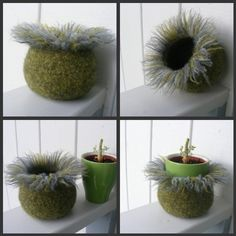 """Decorative and Functional """"Poppy Seed Pod"""" Felted Vessel.~SOLD~"""