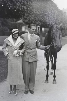 1932. With husband Douglas Fairbanks Jr., in Chantilly, France.