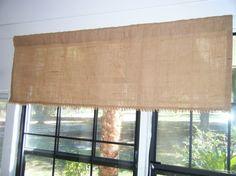 "Burlap Window Valance, 48"" W x 16""L, Vintage Jute Scallop Bottom, 'The Orlando' by Jackie Dix"