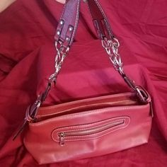 Red small handbag/purse This little hand bag is super-cute has an outside zipper pocket and an inside zipper pocket chain Accent on strap Bags Mini Bags