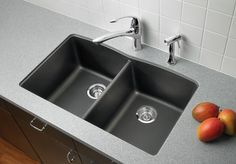Blanco Diamond Equal Double Bowl Kitchen Sink shown installed.