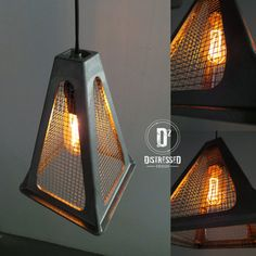Pendant Lighting - The pendant light is made from a repurposed trailer jack and salvaged mesh wire. This would be a great look in an industr...