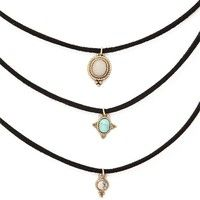 3pcs/set Bib Necklace New Women's Fashion Alloy Pendant Choker Vintage Friendship Multilayer Necklaces for Women Gift for Girls Accessories Designer Jewelry Findings Womens Sexy DIY Trendy Beautiful Black Collar Charm Rhinestone Gemstone Retro Punk Necklace