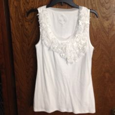 Inc brand x-large tank top with cute detail XL inc white tank top with cute detail around the front neck. INC International Concepts Tops Tank Tops