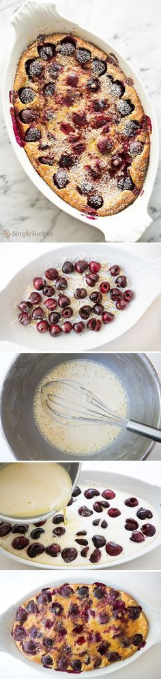 Cherry Clafoutis ~ Fresh cherries baked in a custard-like base with slivered almonds, almond and vanilla extract. Lightly dusted with powdered sugar. ~ SimplyRecipes.com