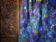SANTORUS FABRICS : Madame De La Soir - Azure : Linen Blend • Lightweight Finish • Made in UK : Shop online now at www.santorus.com