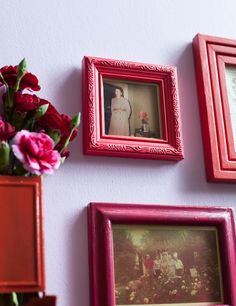Refreshing found objects can easily transform your space. These old frames just needed a fresh coat of color and beautiful photos to make them hang-worthy.