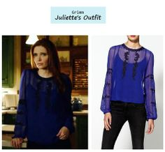 """Bitsie Tulloch as Juliette Silverton in Grimm - """"Goodnight, Sweet Grimm"""" (Ep. 222 Season Finale). Juliette's Blouse: Aryn K. Mulberry Silk Sheer Pleated Lace Top sold out 