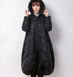Winter CoatBlack A-line Coat Hooded Winter Down CoatWomen