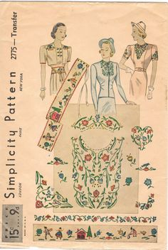 Simplicity 2775 - Vintage Transfer Pattern -Peasant Design Embroidery For Garments Vintage Dress Patterns, Blouse Vintage, Clothing Patterns, Vintage Outfits, Vintage Fashion, 1930s Fashion, Vintage Couture, Embroidered Clothes, Simplicity Patterns
