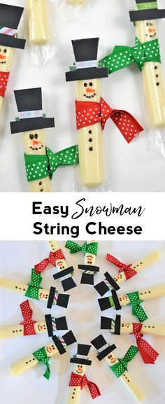 snowman treat | string cheese | winter snack | kids snack | kids craft | christmas craft | snow activity | snow day | winter craft